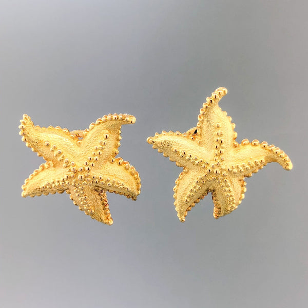 Estate Tiffany & Co. 18k YG Starfish Earrings - Walter Bauman Jewelers