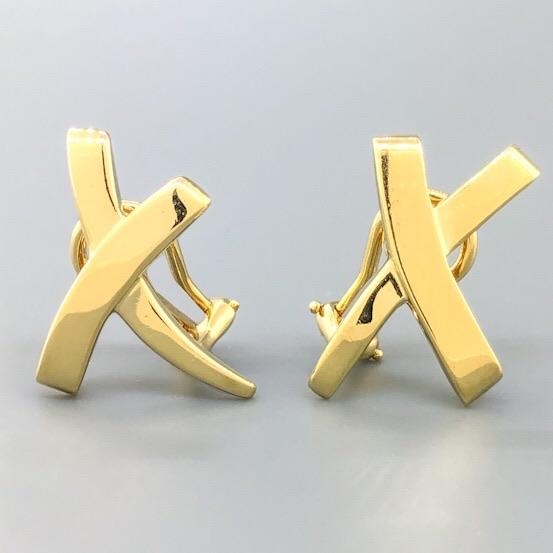 Estate Tiffany & Co. Paloma Picasso 18k YG Kiss X Earrings - Walter Bauman Jewelers