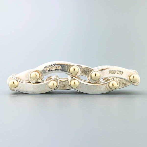 Estate Tiffany & Co. Silver & 18k YG Gate Link Ring - Walter Bauman Jewelers