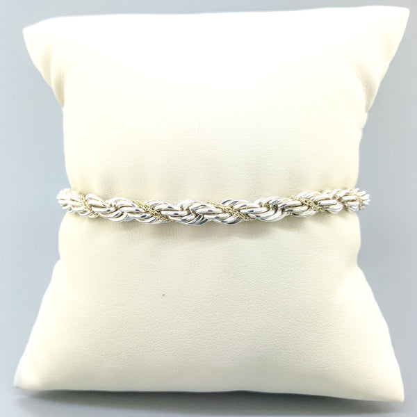 Estate Tiffany & Co. Silver & 18k YG Wrapped Rope Bracelet - Walter Bauman Jewelers