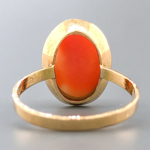 Estate Victorian 14k YG 7.07ct Carved Coral Ring - Walter Bauman Jewelers