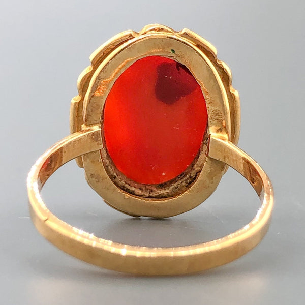 Estate Victorian 18k RG Coral Cameo Ring - Walter Bauman Jewelers
