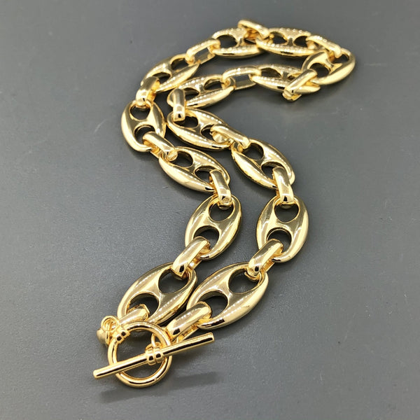 Gold Plated Steel Mariner Link Choker Necklace - Walter Bauman Jewelers