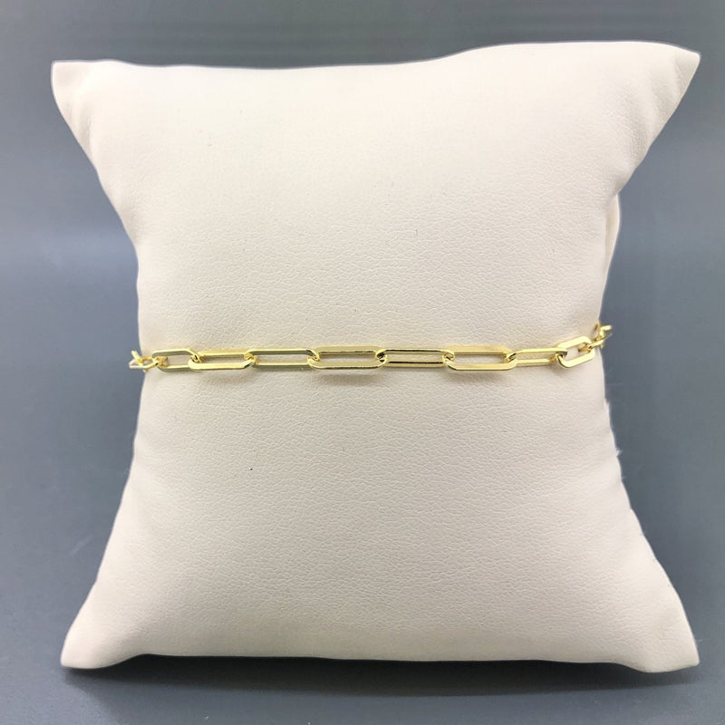 Gold Plated Sterling Silver 3.2mm Paperclip Bracelet - Walter Bauman Jewelers