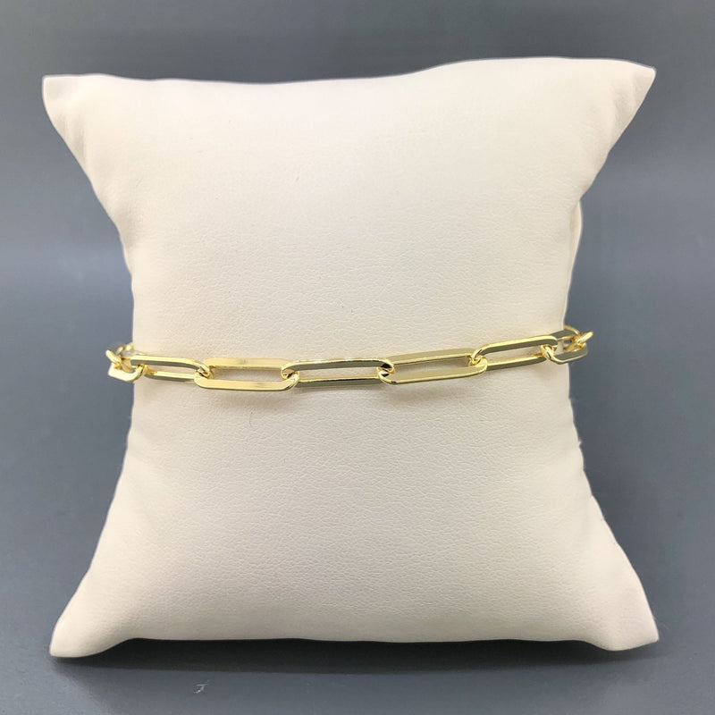 Gold Plated Sterling Silver 4.6mm Paperclip Bracelet - Walter Bauman Jewelers