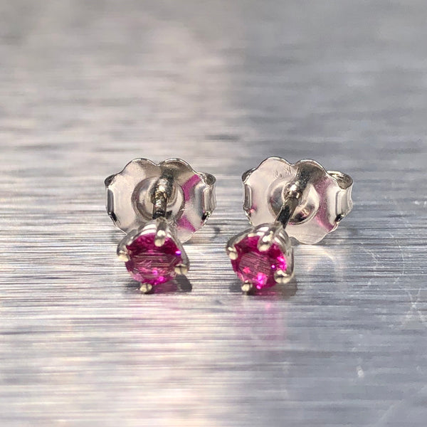 Estate 14kwg Ruby Stud Earrings
