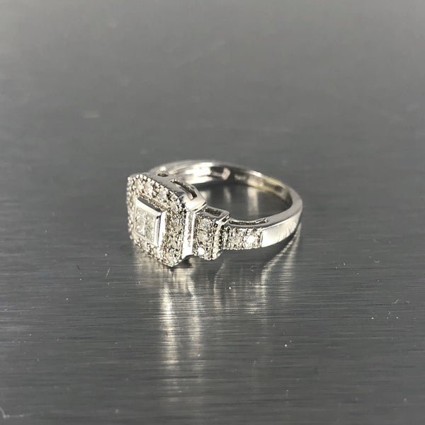 Estate 14k White Gold Diamond Halo Ring