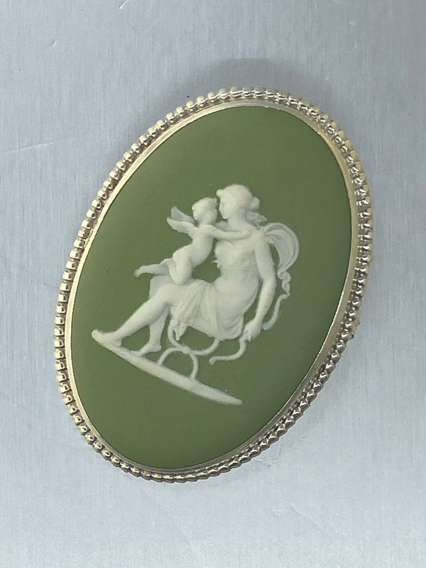 Estate Sterling Silver Green Wedgewood Cameo