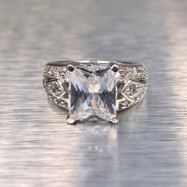 Estate Sterling Silver CZ Engagement Ring