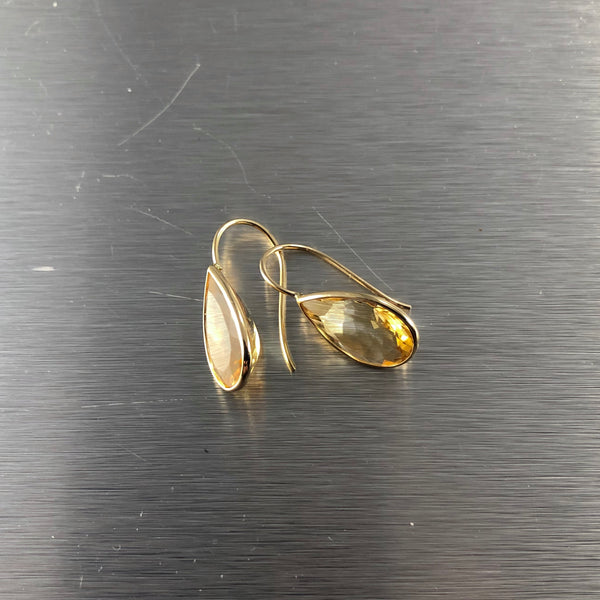 Estate 14k Yellow Gold Citrine Drop Earrings