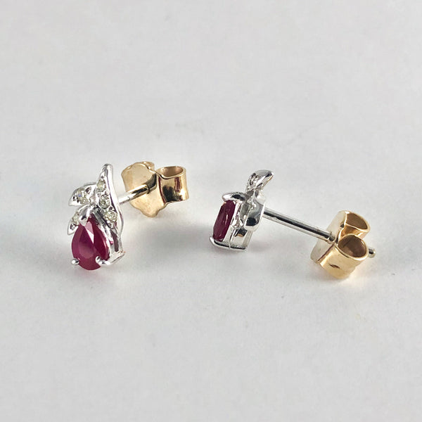 Estate 14kwg Ruby & Diamond Earrings