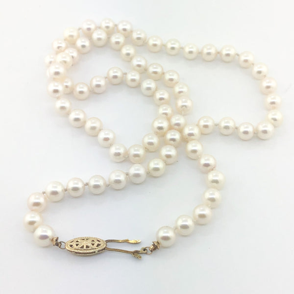 "Estate 14kyg 20"" Cultured Pearl Strand Necklace"