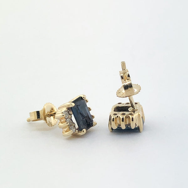 Estate 14kyg Sapphire & Diamond Earrings