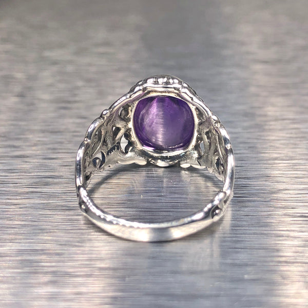 Estate Sterling Silver Purple Stone Ring
