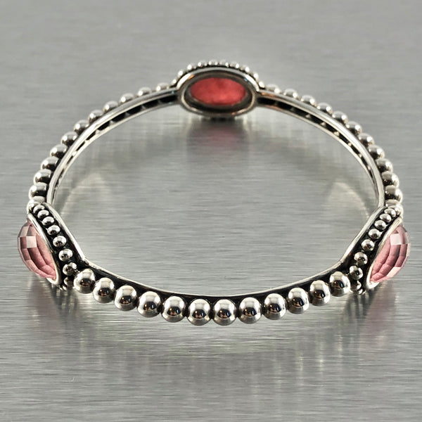 Estate Sterling Silver Rhodochrosite Lagos Bangle