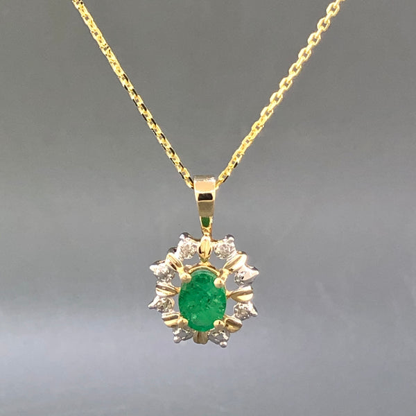 Estate 14k Yellow Gold Emerald & Diamond Halo Necklace