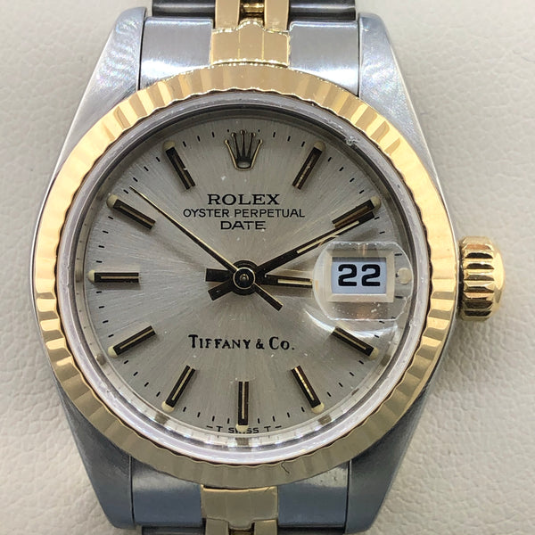 Estate Rolex Tiffany & Co Stainless Steel & 18ky Ladies Watch