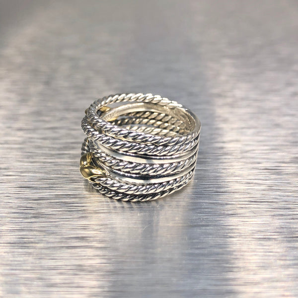 Estate David Yurman Sterling Silver & 18kyg Double X Cable Ring