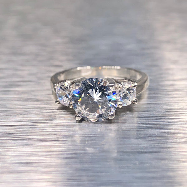 Estate Sterling Silver Three Stone CZ Engagement Ring