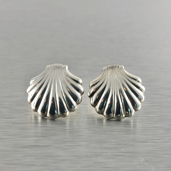 Estate Sterling Silver Sea Shell Earrings