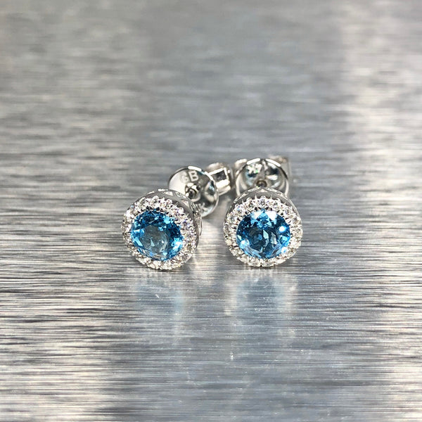 Estate 14k WG Blue Topaz & Diamond Earrings