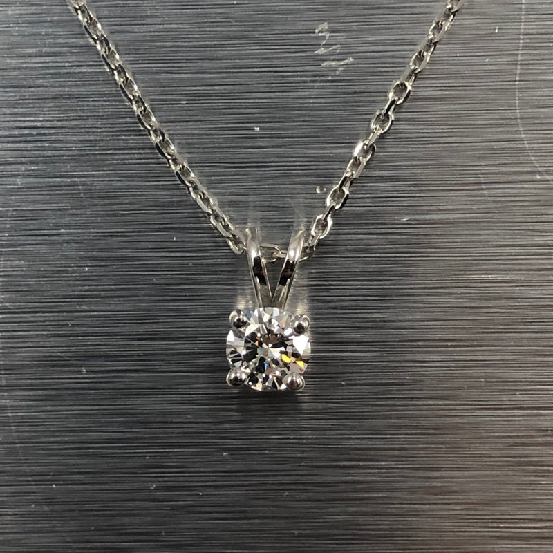 Estate 14k white gold diamond solitaire necklace 0.54ct