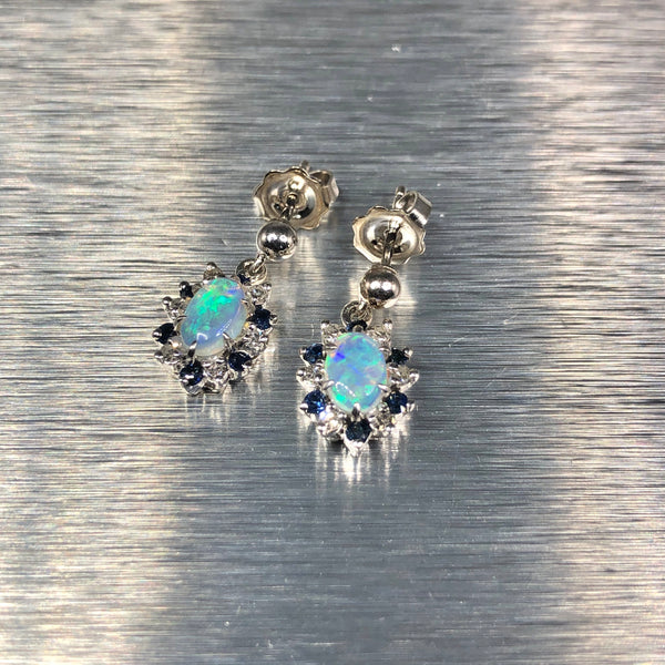 Estate 14k White Gold Opal, Diamond, & Sapphire Earrings