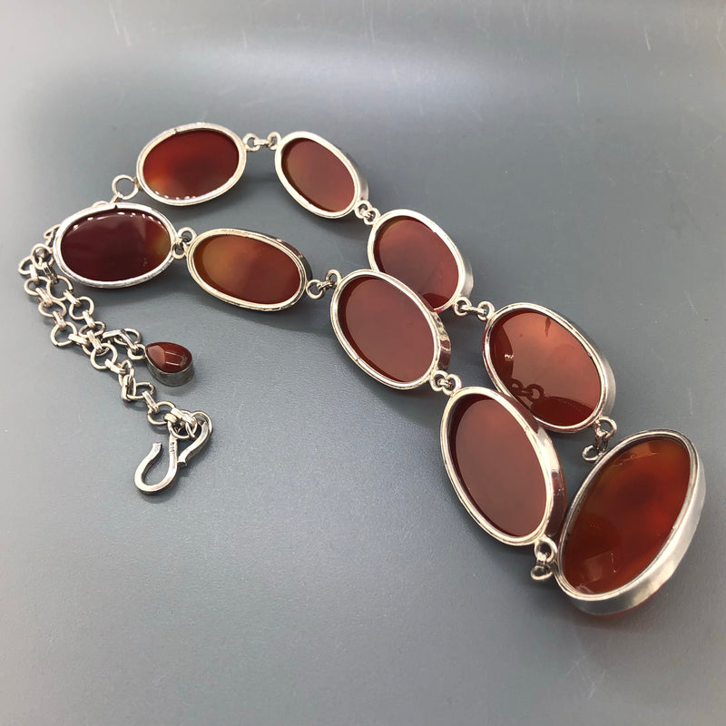 Estate Sterling Silver Carnelian & Twig Coral Necklace