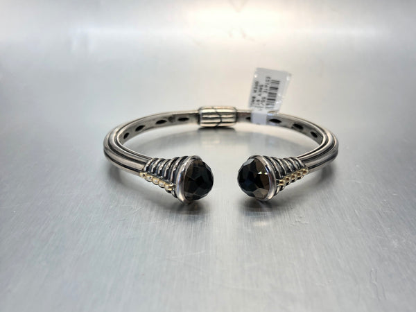 Estate Sterling Silver & 18k Smoky Quartz Cuff Bracelet
