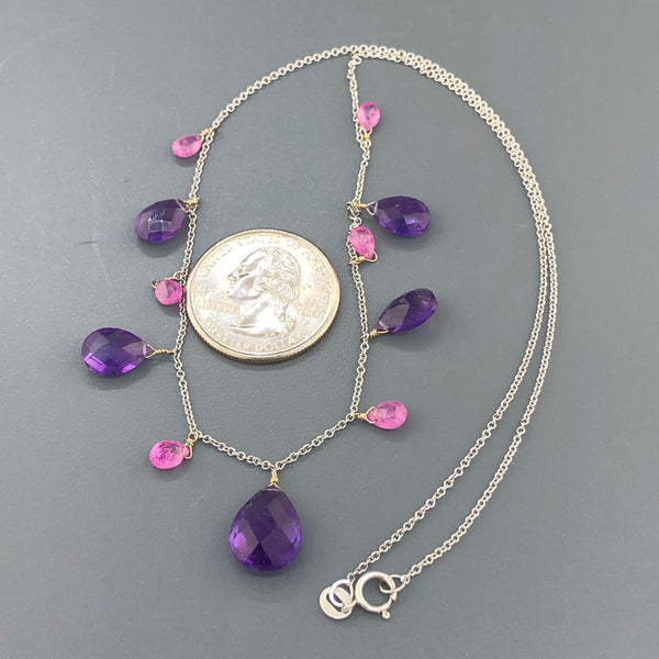 Estate 14kwg Amethyst & Pink Sapphire Drop Necklace
