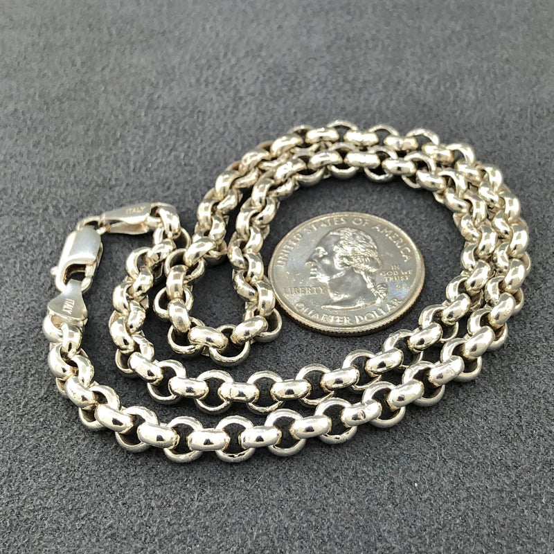 Estate Sterling Silver Heavy Link Rolo Chain
