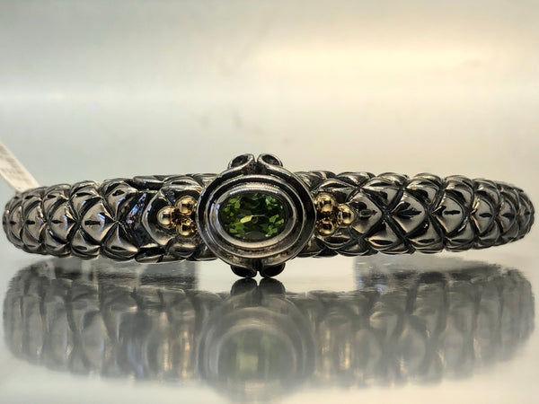 Estate Sterling Silver & 18k Peridot Cuff