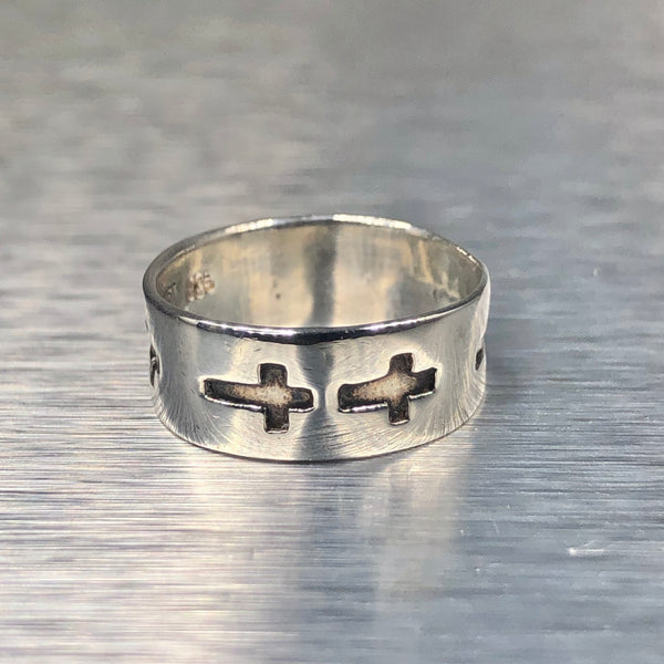 Estate Sterling Silver Cross Band