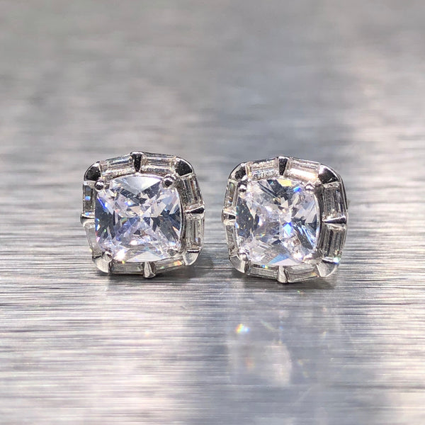 Estate Sterling Silver CZ Stud Earrings