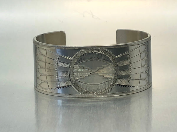 Estate Sterling Silver Wide Solid Cuff