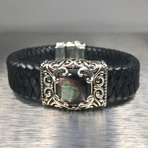 Estate Sterling Silver Mother of Pearl Leather Bracelet
