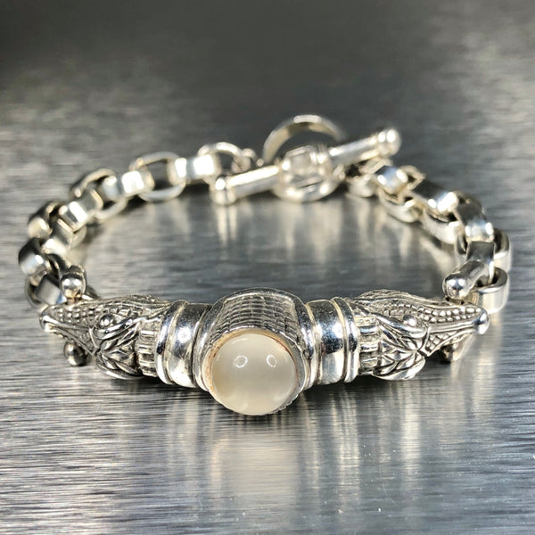 Estate Sterling Silver Kieselstein Moonstone Bracelet