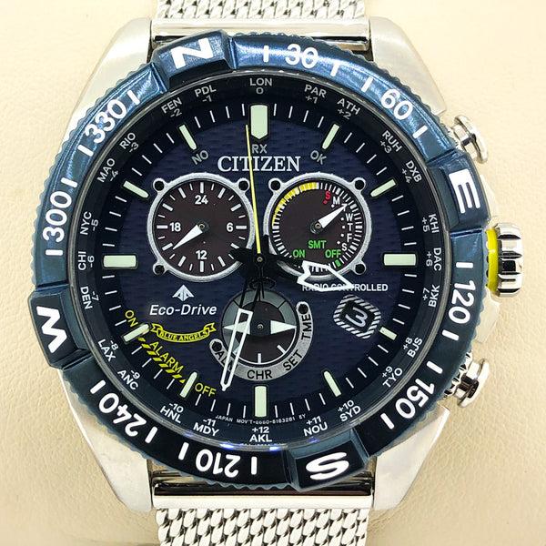 Men's Citizen Eco-Drive® Promaster Navihawk Chronograph Mesh Watch with Blue Dial - CB5848-57L