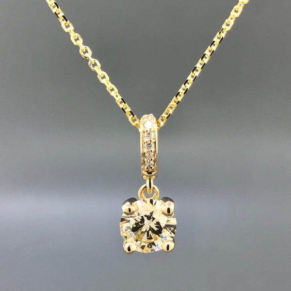 Estate 14k Yellow Gold 0.85ct Diamond Solitaire Necklace