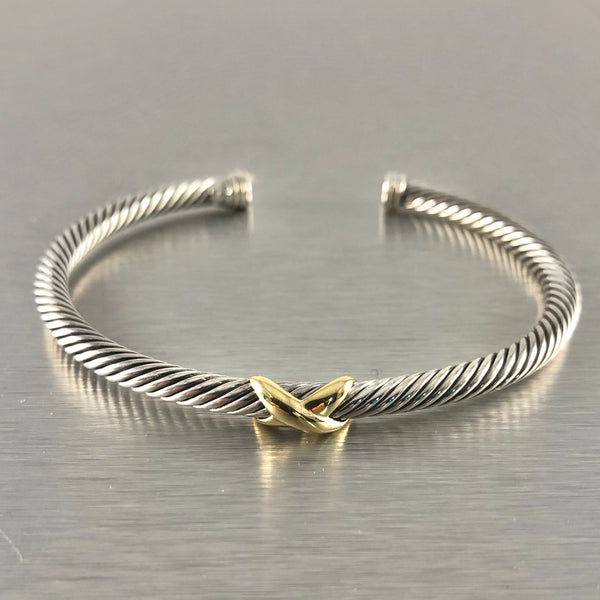 Estate David Yurman Sterling Silver & 18k X Cuff
