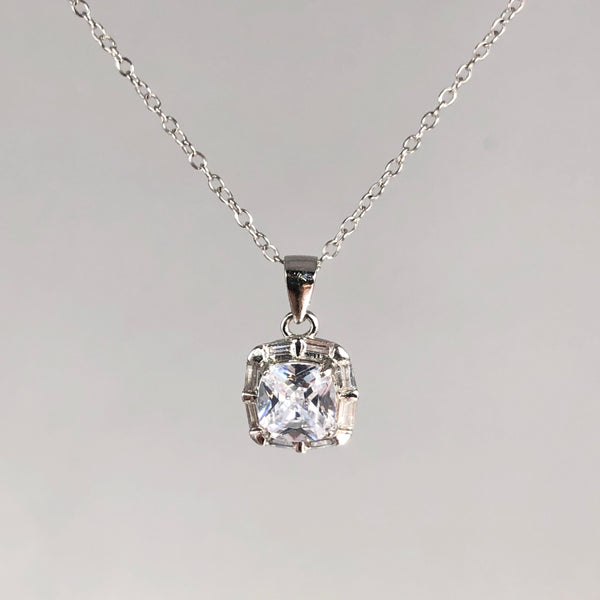 Estate Sterling Silver CZ Halo Necklace