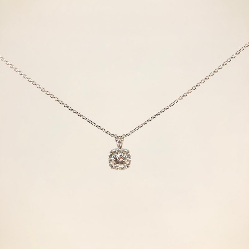 Estate 14k white gold diamond necklace 0.75cttw