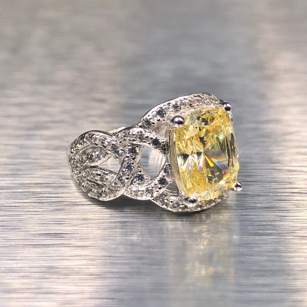 Estate Sterling Silver Yellow CZ Ring