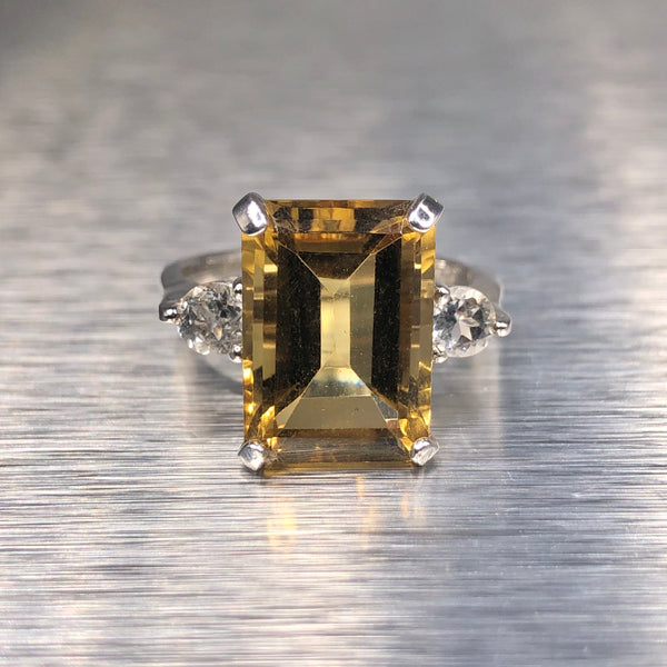 Estate Sterling Silver Citrine & White Topaz Ring