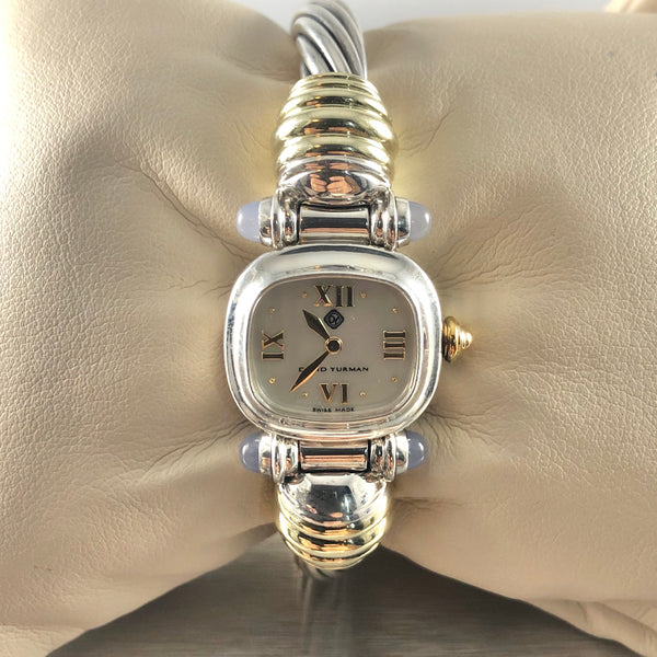 Estate David Yurman Sterling Silver & 14k Moonstone Watch