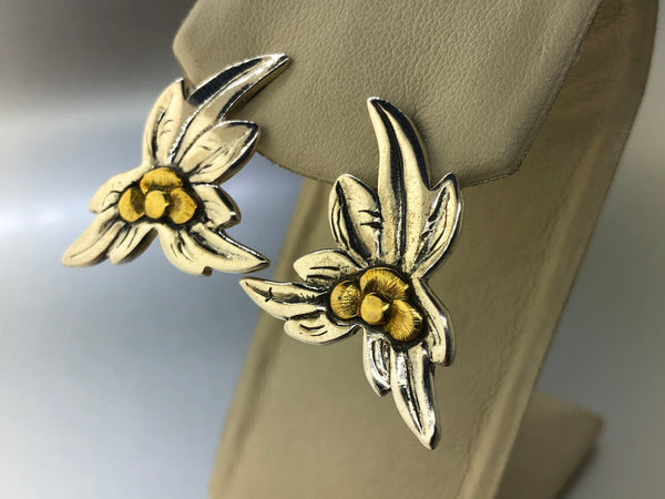 Estate Sterling Silver & Vermeil Flower earrings