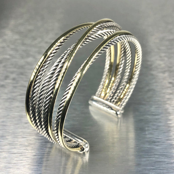 Estate David Yurman Sterling Silver & 18k Yellow Gold Cuff Bracelet