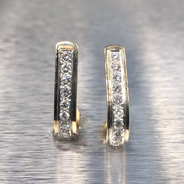 Estate 14ktt Diamond J Hoop Earrings