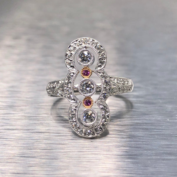 Estate 18kwg Pink Sapphire & Diamond Ring