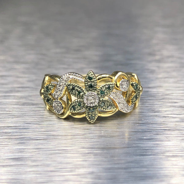 Estate Vermail Green Diamond Flower Ring